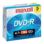 Maxell 638002 DVD Recordable Media - DVD-R - 16x - 4.70 GB - 5 Pack Jewel Case