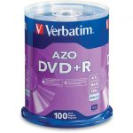 Verbatim 95098 100PK DVD+R 16X 4.7GB BRANDED SPINDLE