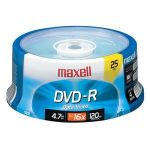 Maxell 638010 DVD Recordable Media - DVD-R - 16x -x - 4.70 GB - 25 Pack Spindle