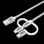 Unitek Y-C4036ASL USB-A to Micro USB Cable +Lightning USB-C Adaptor 1M (3ft) Silver