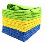 6-PK Microfiber Clean Cloths 2x Blue 2x Yellow2x Green