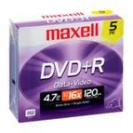 Maxell DVD Recordable Media - DVD+R - 16x - 4.70 GB - 5 Pack Jewel Case - 120mm - 2 Hour Maximum Recording Time
