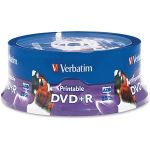Verbatim DVD+R 4.7GB 16X White Inkjet Printable  Hub Printable - 25pk Spindle - Inkjet Printable