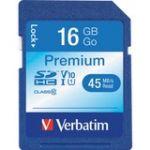 Verbatim 16GB Premium SDHC Memory Card  UHS-I Class 10 - Class 10 - 1 Card/1 Pack - 133x Memory Speed