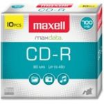 Maxell CD Recordable Media - CD-R - 40x - 700 MB - 10 Pack Slim Jewel Case - 120mm - 1.33 Hour Maximum Recording Time