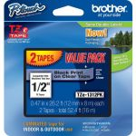 Brother TZE1312PK 1/2in Black/Clear Laminated TZe Tape Value Pack
