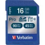 Verbatim 16GB Pro 600X SDHC Memory Card  UHS-1 U3 Class 10 - Class 10/UHS-I - 1 Card - 600x Memory Speed