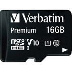 Verbatim 16GB Premium microSDHC Memory Card with Adapter  UHS-I Class 10 - Class 10 - 80MBps Read - 80MBps Write1 Pack