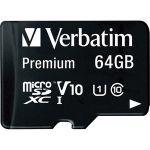 Verbatim 64GB Premium microSDXC Memory Card with Adapter  UHS-I Class 10 - UHS-1/Class 10 - 1pk