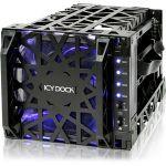 Icy Dock Black Vortex MB074SP-1B Drive Enclosure Internal - Black - 4 x Total Bay - 4 x 3.5in Bay - Serial ATA - Cooling Fan