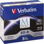 Verbatim 98900 M-Disc BD-R 25GB 4X with Branded Su rface - 5pk Jewel Case Box