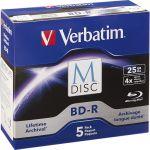 Verbatim 98900 M-Disc BD-R 25GB 4X with Branded Su rface - 5pk Jewel Case Box