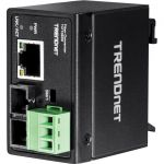 TRENDnet Hardened Industrial 100Base-FX Single-Mode SC Fiber Converter - 1 x Network (RJ-45) - 1 x SC Ports - Single-mode  Multi-mode - Fast Ethernet - 100Base-FX  10/100Base-T - Rail-m