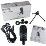 Plugable USB-VOX Microphone - 20 Hz to 16 kHz - Wired - 10.01 ft - Condenser - Cardioid - Stand Mountable - USB