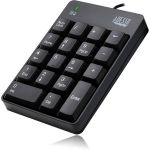 Adesso AKB-601UB - USB Spill Resistant 18-Key Numeric Keypad - Cable Connectivity - USB Interface - 18 Key - English (US) - Compatible with Windows - Membrane