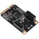 IO Crest 2 Port SATA III Full Height MiniPCIE Controller Card (Jmicro Chipset) - Serial ATA/600 - Mini PCI Express - 2 Total SATA Port(s) - 2 SATA Port(s) Internal - PC  Mac  Linux - Pl