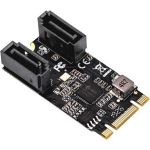 IO Crest 2 Port SATA III 6Gb/s M.2 22x42 Controller Card - Serial ATA/600 - M.2 - Plug-in Card - 2 Total SATA Port(s) - 2 SATA Port(s) Internal - PC  Linux  Mac
