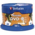 Verbatim DVD-R 4.7GB 16X White Inkjet Printable with Branded Hub - 50pk Spindle - 4.7GB - 50 Pack 11367288