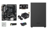 Image of multiple PC hardware parts for the AMD custom compact