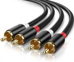 Premium 2RCA Male to 2RCA Male Cable 6.5ft Gold Plated Black