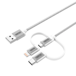 Unitek Y-C4036ASL USB-A to Micro USB Cable +Lightning USB-C Adaptor 1M (3ft) Silver