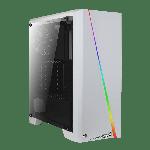 AeroCool CYLON WHITE RGB Mid Tower ATX CaseFull Acrylic Side Window Front Panel RGB Strip 1x USB 3.0 1x USB 2.0