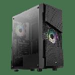 AeroCool MENACE SATURN RGB Mid Tower ATX Case 1x 120mm RGB Fan 2x USB 3.0 HD Audio & Mic Ports Black