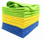 6-PK Microfiber Clean Cloths 2x Blue 2x Yellow2x Green