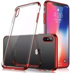 iPhoneXS MAX TPU Electroplate Red Frame Clear Rubber