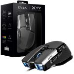 EVGA 903-W1-17GR-KR X17 Gaming Mouse Optical16000 DPI 10 Buttons 5 Programmable Profiles USB Gray