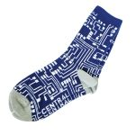 Central Computers Circuit Board Navy Blue and white sock Men's Large