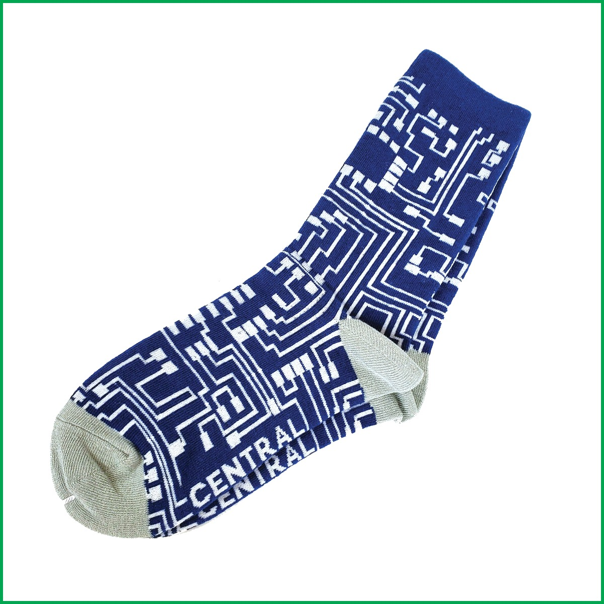Navy Blue and White Circuit Board Socks Central Computers