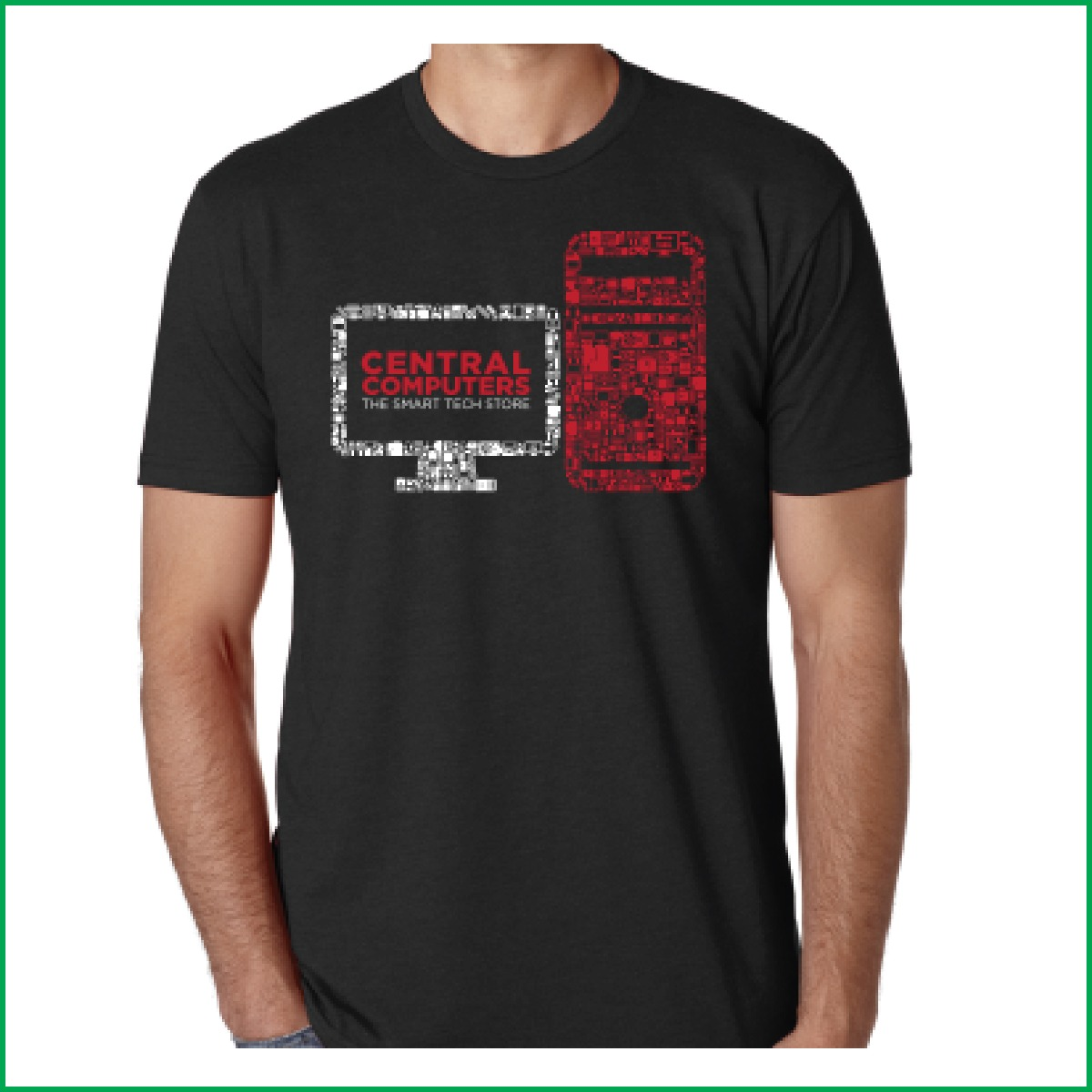 Red and White Icon Computer Monitor and Tower Tshirt Central Computers