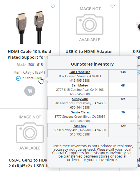 image showing how the in store inventory looks when you hover over a product